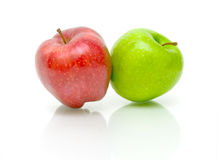 Two apples on a white background Royalty Free Stock Images