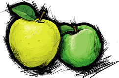 Two apples. Yellow and green  apples Royalty Free Stock Photos