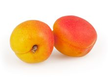 Two apricot isolated on white. Background with clipping path Stock Image