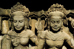 Two apsaras in angkor wat Royalty Free Stock Image