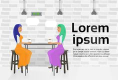 Two Arab Woman Friends Drinking Coffee In Modern Cafe Talking Over Copy Space Background. Flat Vector Illustration Stock Image