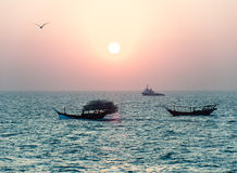 Two arabian fishing boats Stock Images