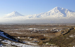 Two Ararat - two destinies. Beautiful Ararat mountain and second small Ararat Royalty Free Stock Photo