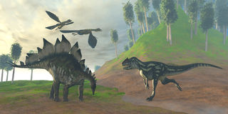 Allosaurus Hunt Stock Photo
