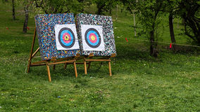 Two archery targets Royalty Free Stock Photos