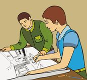 Two architect. Two designers work over working drawing Royalty Free Stock Images