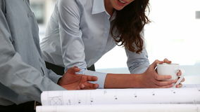 Two architects examining a plan. In an office stock video