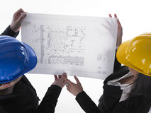 Two Architects looking in plan Stock Images