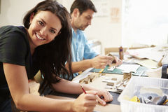 Two Architects Making Models In Office Together Stock Image