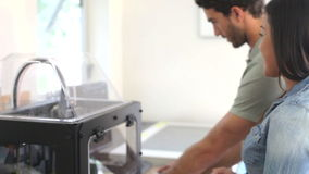 Two Architects Using 3D Printer To Make Models For Project Stock Photography