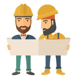 Two architects wearing protection helmets looking at blueprint. A two young architects wearing protection helmets looing at blueprint. A Contemporary style stock illustration