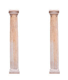 Two architectural columns on a white background Stock Photos