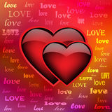 Two ardent hearts on iridescent background, eps10 Royalty Free Stock Photo