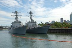 Two Arleigh Burke-class destroyers in Portland, OR royalty free stock photo