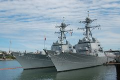 Two Arleigh Burke-class destroyers in Portland, OR royalty free stock photos
