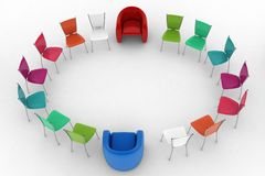 Two arm-chairs of chief and group of multicolored office chairs Royalty Free Stock Image