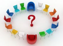 Two arm-chairs of chief and group of multicolored office chairs Stock Photography