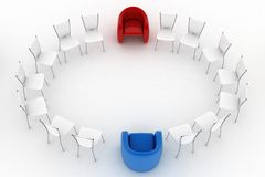 Two arm-chairs and group of office chairs Royalty Free Stock Photos