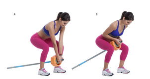 Two-Arm Long Barbell Row Royalty Free Stock Image