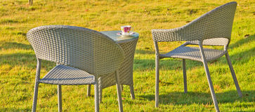 Two armchair in backyard Royalty Free Stock Photos