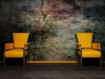 Two armchair on the grunge background Stock Photos