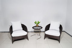 Two armchair with wyite pillow Royalty Free Stock Photography