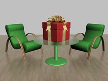 Two armchairs and gift box Stock Image