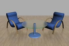 Two armchairs and glass table. Royalty Free Stock Image