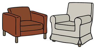 Two armchairs. Hand drawing of a red and white armchairs Royalty Free Stock Image