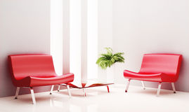 Two armchairs and table 3d render Royalty Free Stock Photography