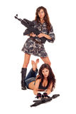 Two armed girls Stock Images