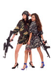 Two armed girls Royalty Free Stock Photos