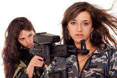 Two armed girls Royalty Free Stock Image