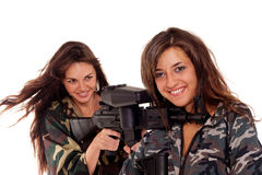 Two armed girls Royalty Free Stock Photo