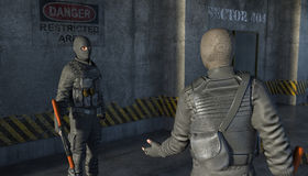 Two armed men in military suits talk to each other royalty free illustration