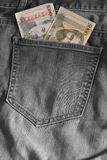 Two Armenian notes in the pocket of jeans Stock Images
