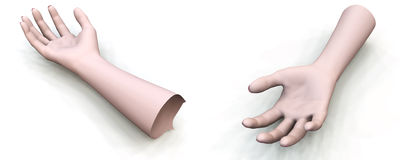 Two Arms. Disembodied hands for Halloween, accident or medical concepts Stock Photo