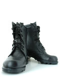 Two army boots. Black leather army boots on overwhite background Royalty Free Stock Image