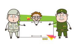 Two Army Man Presenting Ad Banner with Naughty Kid Vector Illustration. Two Army Man Presenting Ad Banner with Naughty Kid Vector design Stock Photo