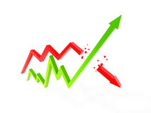 Two arrow chart Stock Images
