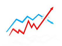 Two arrow chart Stock Image