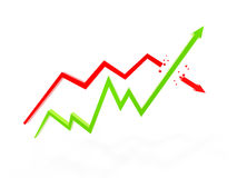 Two arrow chart Stock Photo