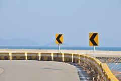 Two Arrow Curve Signs Stock Photography