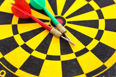 Two arrow on the dartboard Royalty Free Stock Images