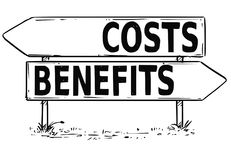 Two Arrow Sign Drawing of Costs or Benefits Decision Stock Images
