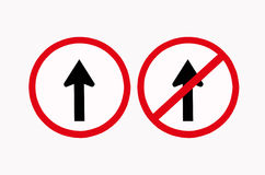 Two arrow traffic signs. Straight and straight prohibited traffic signs Stock Photography