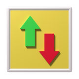 Two arrows going up and down Stock Photo