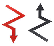 Two arrows. One pointing downward second top Stock Image