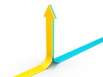 Two arrows pointing upwards. Two 3d arrows are pointing upwards together Royalty Free Stock Photos