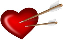 Two arrows stabbed into heart Stock Image